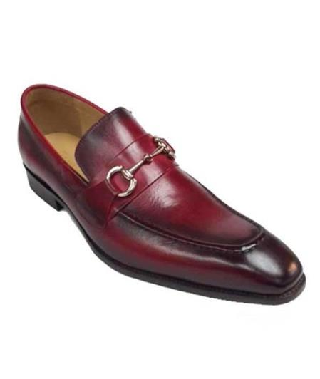 Mens Slip On Red Fashionable Slip on - Stylish Dress Loafer Red And Tint Of Black Carrucci Shoe With Top Latch