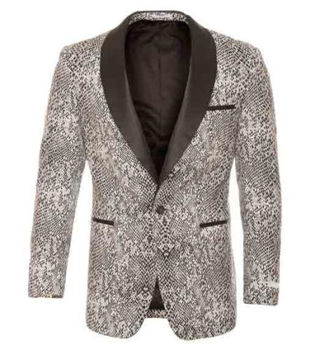 Silver Tuxedo Modern Fit Black / White Tonal Snake Pattern Blazer Sport Coat Shawl Collar