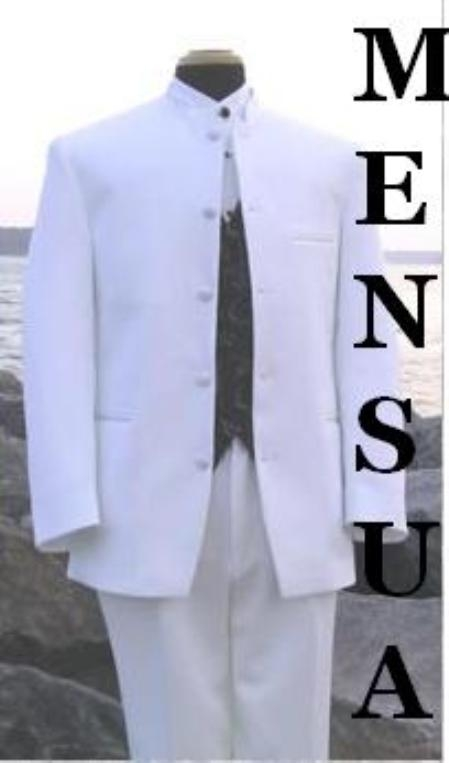 SKU#MU105 Mens Snow White Mandarin Banded Nerue Nehru Collar 5 Button Oriantal Suit