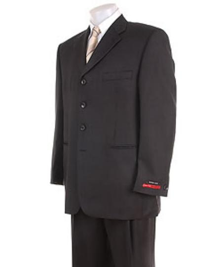 SKU# LP23 Mens Solid Black 4 buttons Super 120s Wool premier quality italian fabric Suit $199
