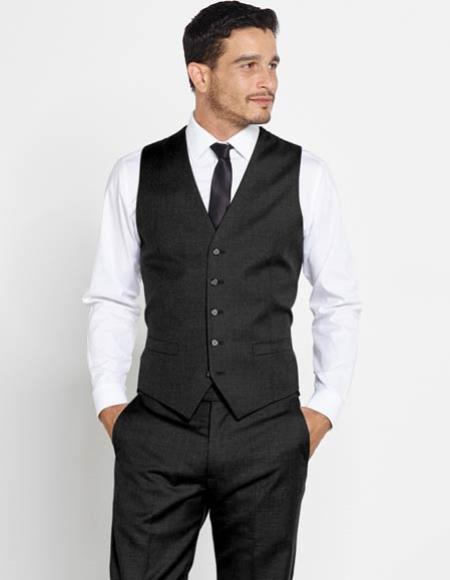 Mens Solid Black Vest + Matching Dress Pants Set + Any Color Shirt And Tie