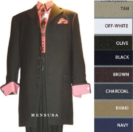 SKU# ZT1W39 Mens Solid Jet Dark Black Dress Fashion Zoot Suit Cuffed Sleeve suit  $139