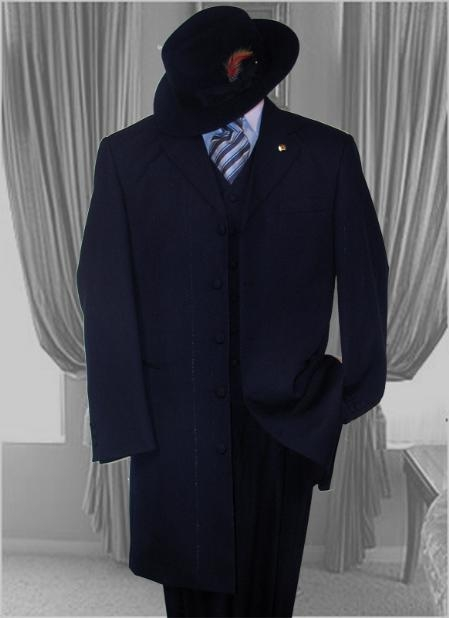 SKU# 9737 Mens Solid NAVY SUIT 3PC FASHION ZOOT SUIT VERY NICE FOR ANY OCCASION. $119