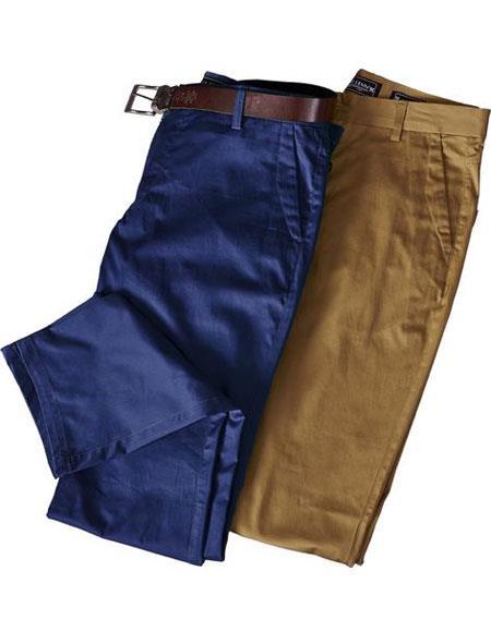 Mens Cotton Solid Pattern Flat Front Dress Pants unhemmed unfinished bottom