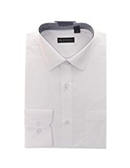Mens Solid White Cotton Blend Slim Fit Shirt (We have more Braveman suits Call 1-844-650-3963 to order)