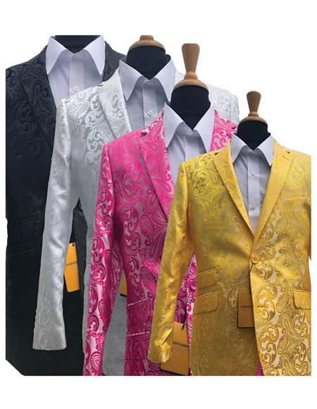 Alberto Nardoni Brand Fashionable Paisley Tuxedo Sparkling  Pattern Blazer Also Available In Big and Tall Sizes