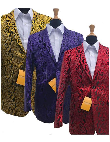 Big and Tall Tuxedo Alberto Nardoni Brand Fashionable Paisley Tuxedo Sparkling Pattern Blazer Available In Big and Tall Sizes