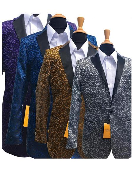 Alberto Nardoni Brand Fashionable Paisley Tuxedo Sparkling Sequin Pattern Blazer For Men Also Available In Big and Tall Sizes