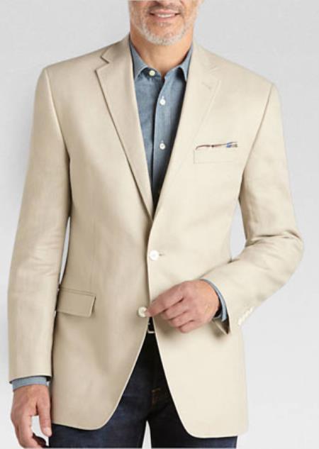 Mens Summer Blazer 2 Button Linen Classic Fit Sport Coat Tan
