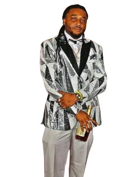 Men's Gray  ~ white ~ black Sequin Shiny Pattern Fashion Men's Sport Jacket / Blazer