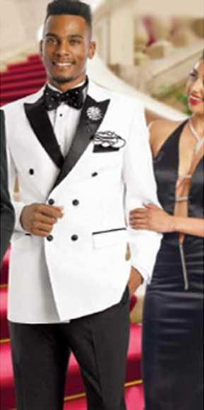 Men's Double Breasted Suits Jacket Blazer / Sportcoat Jacket  White