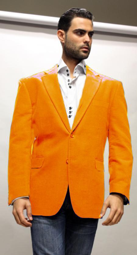 Velvet Blazer - Mens Velvet Jacket Cheap Priced Online Orange Super 150's Fabric Sport Coat