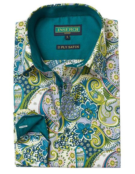 Buy AP313 Mens Spring Cotton Contrast Trimming Floral Paisley Fashion Casual Shirt