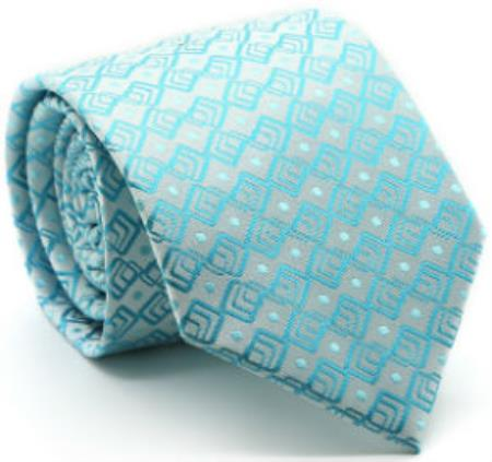 Mens Premium Triple Square Pattern Ties Turquoise