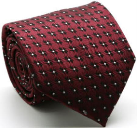 Mens Premium Square Print Ties Wine