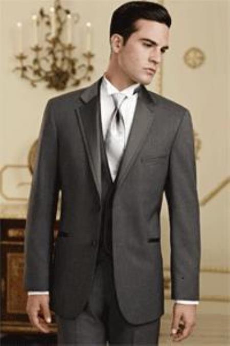 Sku Qy80l Mens Charcoal Grey Gray Tuxedo Vested 3 Piece Wedding Suit