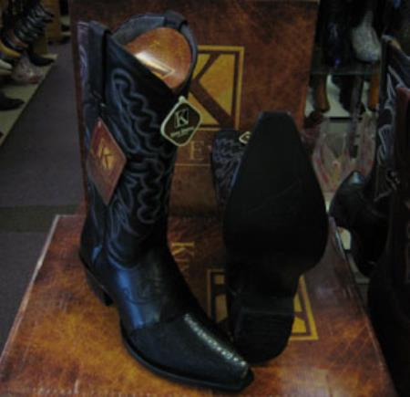 Buy MK949 Mens Genunie Stingray mantarraya skin King Exotic Snip Toe Western Cowboy Black Boot