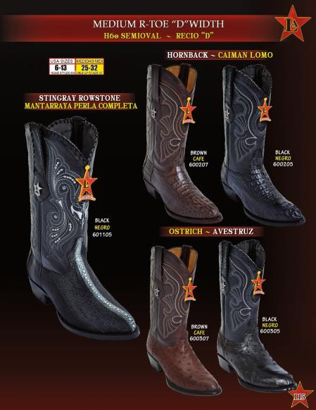 Los Altos Mens R Toe Genuine Stingray mantarraya skin/caiman ~ World Best Alligator ~ Gator Skin/Ostrich Cowboy Western Boots