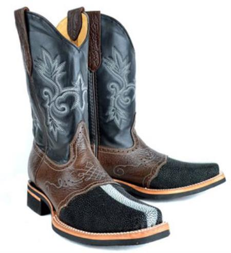 Buy RM1012 Mens King Exotic Full Pearl Stingray mantarraya skin Skin Leather Saddle Black Boot