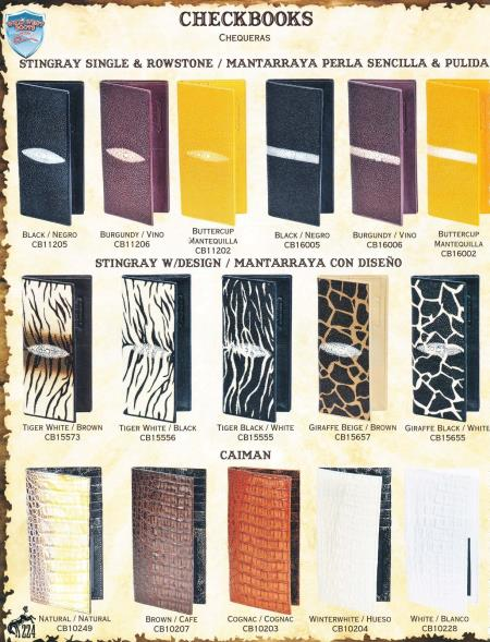 Mens Genuine Exotic Animal Skin Ladies Genuine Stingray & caiman ~ World Best Alligator ~ Gator Skin Checkbooks Different Colors