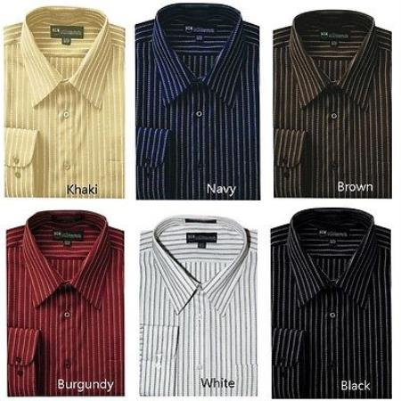 Classic Stylish Contrast Stripes Style Multi-color Mens Dress Shirt
