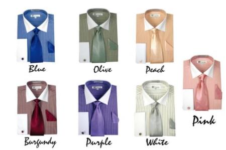 Stylish Striped w/ Tie And Handkerchief French Cuff Style White Collar Two Toned Contrast Multi-Color Men's Dress Shirt