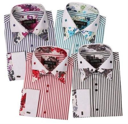 Men's Striped Shirt with Foral Print Design Lots Colors French Cuffs Multi-Color