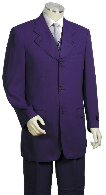 SKU#KF9023 Mens Stylish 3 Piece Unique Exclusive Fashion Suit Purple