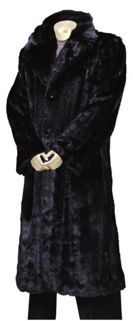 SKU#RE7743 Mens Stylish Faux Fur Full Length Coat Black