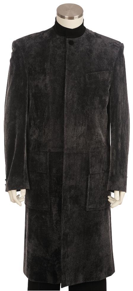 SKU#GW8125 Mens clergy robes Stylish Velvet Suit Grey