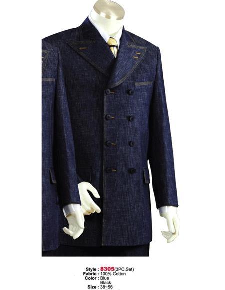 Denim Cotton Fabric Suit Style Black or Blue