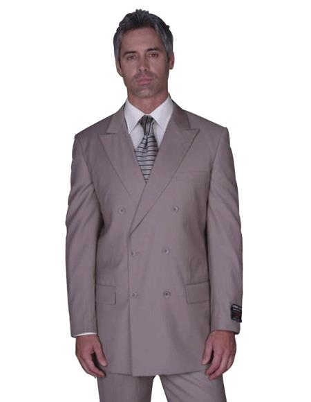 CLASSIC DOUBLE BREASTED SUITS SOLID COLOR Tan ~ Beige Men's SUIT