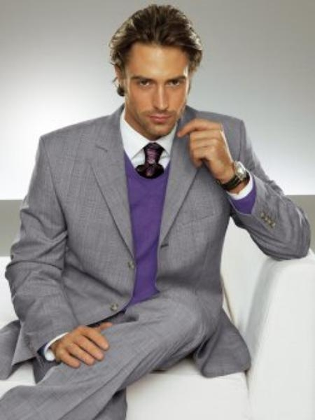 SKU# EMI PR3>PR1 Mens Superior Wool Feel Poly~Rayon Two 2-Button Light Gray premier italian fabric Suit