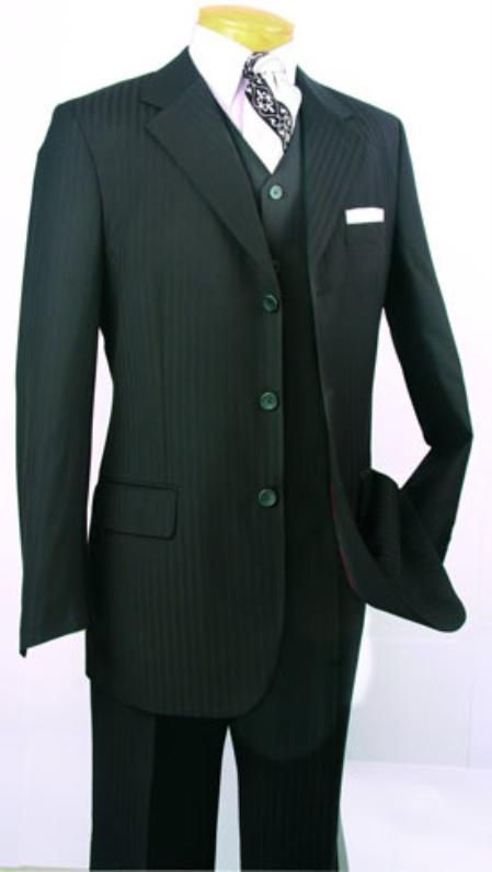 SKU#HF740 Mens Super 150s Luxurious Fashion three piece suit Black