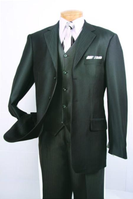 SKU#OV902 Mens Super 150s Luxurious Fashion three piece suit Herringbone Tweed Stripe ~ Pinstripe Black