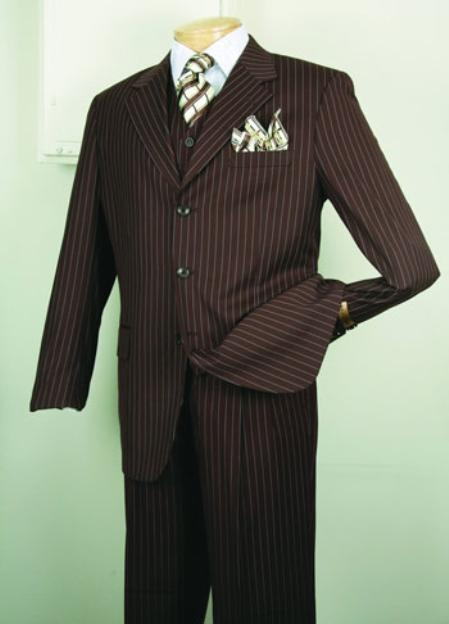 SKU#5802V Chalk Bold Gangster Mens Super 150s Luxurious Fashion three piece suit Classic Stripe ~ Pinstripe Design Brown