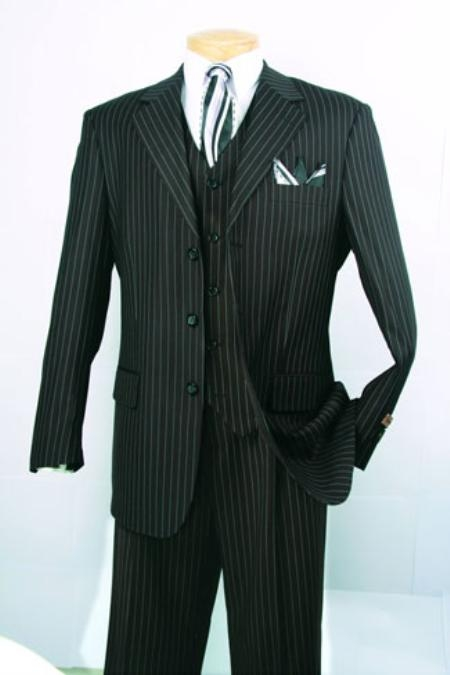 SKU#BJ434 Mens Super 150s Luxurious Fashion three piece suit Classic Stripe ~ Pinstripe Design Black