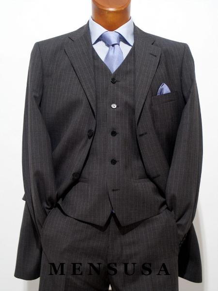 SKU# 921 Mens Super Stylish Stunning Charcoal Gray Pinstripe 3 Pieces Vested Suits Available in 2 buttons only