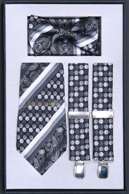 SKU#DX35 Mens Suspender, Tie, Bow Tie ~ Bowtie and Hanky Set Black