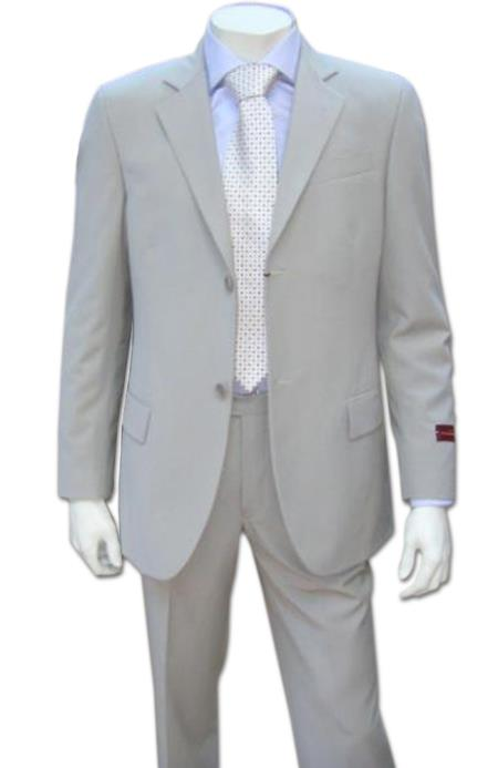 Mens Lightest Tan ~ Beige 2 Button Super Wool Feel Rayon Viscose Dress Business ~ Wedding 2 piece Side Vented 2 Piece Suits For Men (LIGHT GRAY)