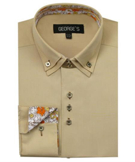 Mens Tan 60% Cotton 40% POLY Shirt Solid Color Double Collar