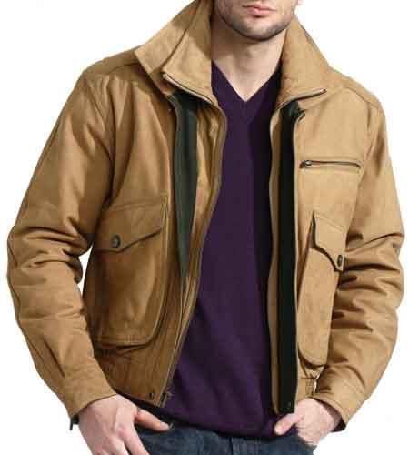 Buy SM2073 Men's Double Collared Slim European Fit Tan Nubuck Leather Jacket