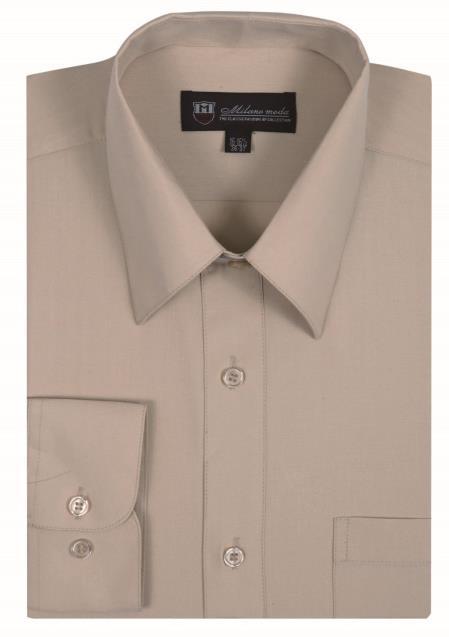 Tan Standard Cuff Classic Fit Men's Dress Shirt
