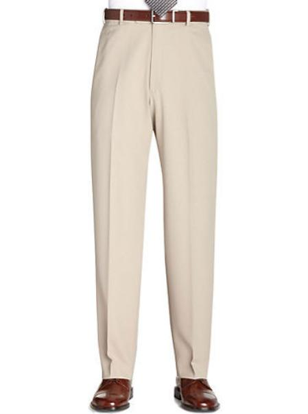 SKU#KA 8802 Tan ~ Beige Flat Front Regular Rise Slacks