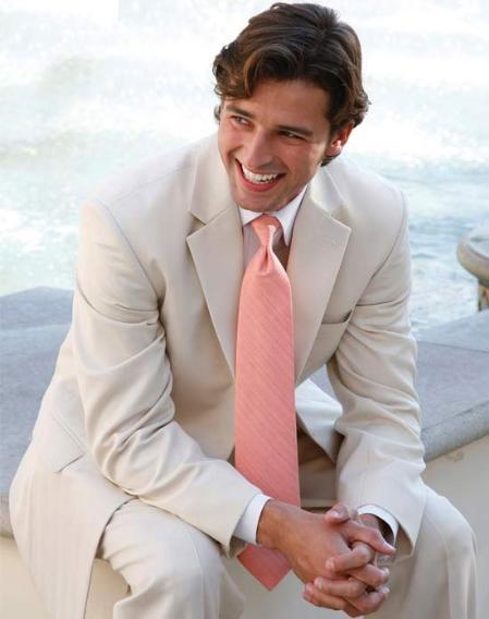 SKU#KA7685 Light Tan ~ Beige 2 Button Wedding Suit