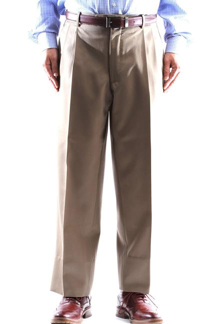 Tan Regular Size & Big and Tall 100% Wool Dress Pants Pleated Pants Gabardine Fabric unhemmed unfinished bottom