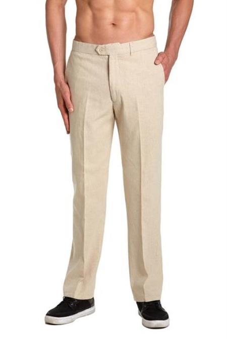 Linen Mens Dress Pants Trousers Flat Front Slacks Natural Tan