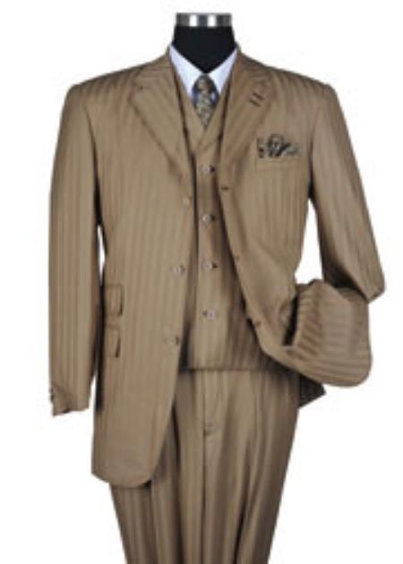 1930s Style Mens Suits Tan  Beige Tone on Tone Stripe  Pinstripe Vested Urban Men Suits $139.00 AT vintagedancer.com