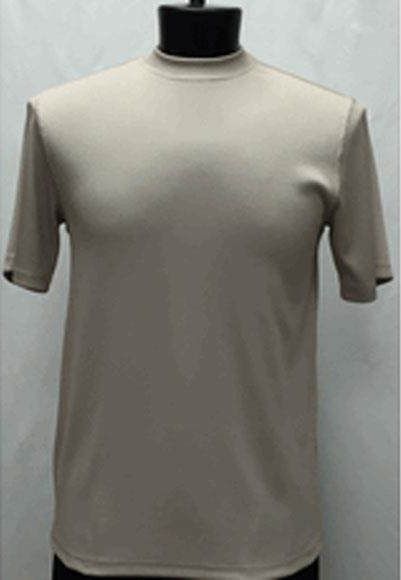 Men's Classy Mock Neck Shiny Short Sleeve Stylish Tan Shirt