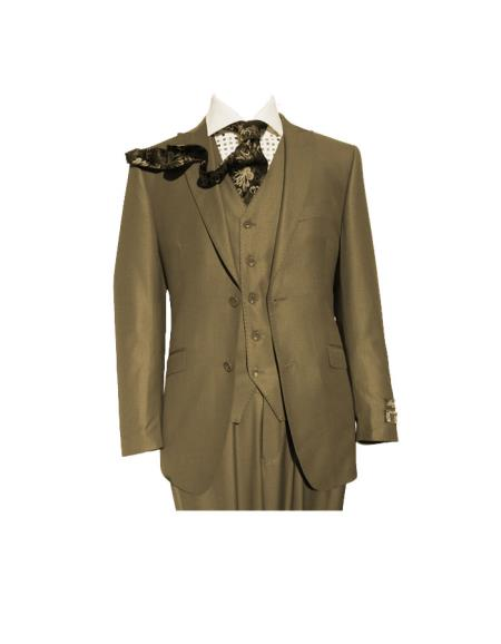 Tan 3 Piece Peak Lapel Slim Fit